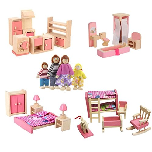 Kunhe 4 Set Wooden Dollhouse Furniture Including Kitchen,Bathroom, Bedroom, Kids Room for Dollhouse Pink Color with 4 Dolls ()
