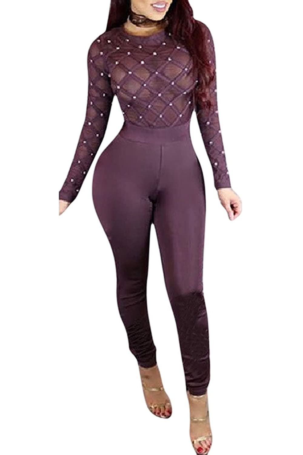 Rokiney Women Sexy See Through Mesh Beads Top Bodycon Clubwear Jumpsuits Rompers