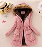 New Euphony brand Size:M Women Winter Coat Thickening Cotton Winter Jacket (pink)