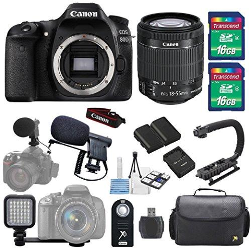 Canon EOS 80D 24.2MP DSLR Camera + 18-55mm IS STM Lens + Shotgun Microphone Bundle + 2pc 16GB SD Card + LED Light Kit + SD Card Reader + Backpack + Scorpion Stabilizer