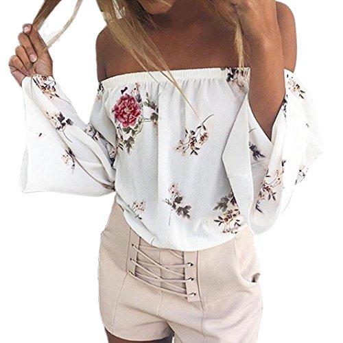 - Off Shoulder Tops for Women,Printing Long Sleeve T Shirt Crop Top Romper Bodysuit V Short Sleeve Ladies Blouses (White, L)