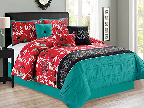 7-Pc Sachi Tree Branches Silhouette Leaves Birds Floral Damask Comforter Set Turquoise Blue Red Black Queen (Bedding Turquoise Red)