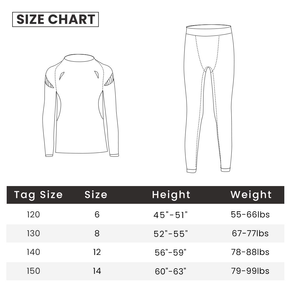 Tesuwel Boys Girls Compression Shirts Pants Base Layer Thermal Underwear Set 2 Pcs 3339 3279