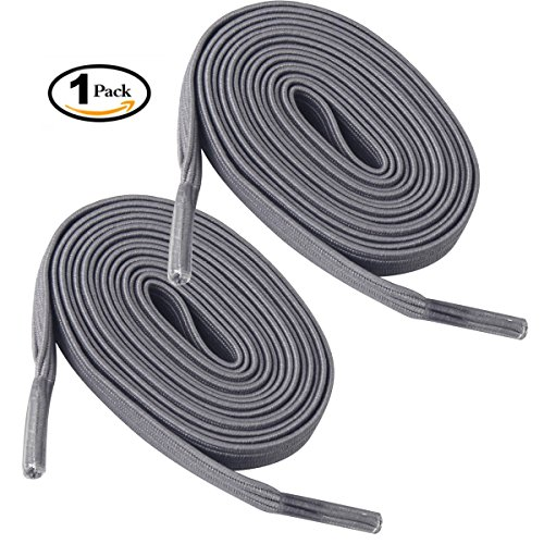 Tieless shoelaces Newsight No tie shoelaces Stretch shoelaces Best in Sports Fan Shoelaces Flat Athletic Shoelaces for All Types of kids & Adult shoes (Gray)