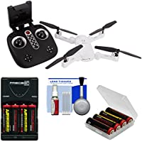 Vivitar DRC-X1 Wi-Fi HD Camera Foldable LED Quadcopter Drone (White) with Battery + Charger + Kit