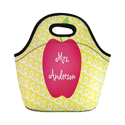 - Ablitt Lunch Bags Yellow Teacher Red Apple Personalized Appreciation Day Name Back neoprene lunch bag lunchbox tote bag portable picnic bag cooler bag