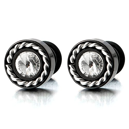 nless Steel Black Stud Earrings with 5MM Cubic Zirconia, Screw Back, 2pcs ()