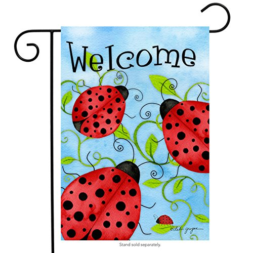 Flag Banner Ladybugs (Briarwood Lane Ladybug Welcome Garden Flag Spring Critters Insects 12.5