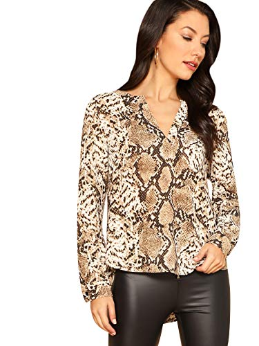 WDIRARA Women's Casual V Neck Snake Skin Print Long Sleeve Pullover Blouses Tops Brown M
