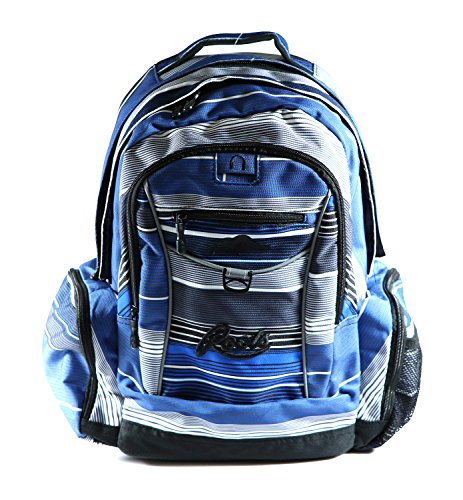 Roots 73 - Durable 17.3-inch Laptop and Tablet Backpack with Zippered Cable Pockets (Blue Stripes) by Roots 73