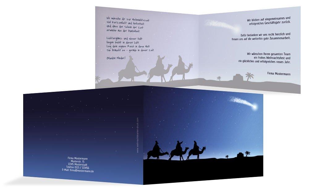 Weihnachtskarten  Weihnachtskarte Geschäftlich drei hl. Könige, hochwertige Grußkarte zu Weihnachten inklusive Umschläge   30 Karten (Format  296.00x105.00mm) Farbe  Dunkelblau