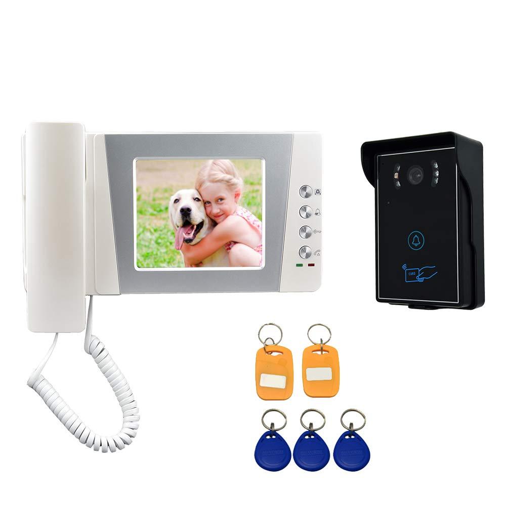 Instrucciones en espa/ñol Nudito Kit Videoportero universal para vivienda 1 Monitor TFT LCD a color de 4,3, 1 Unidad exterior con C/ámara infrarroja con Visi/ón Nocturna Interfono Intercomunicador
