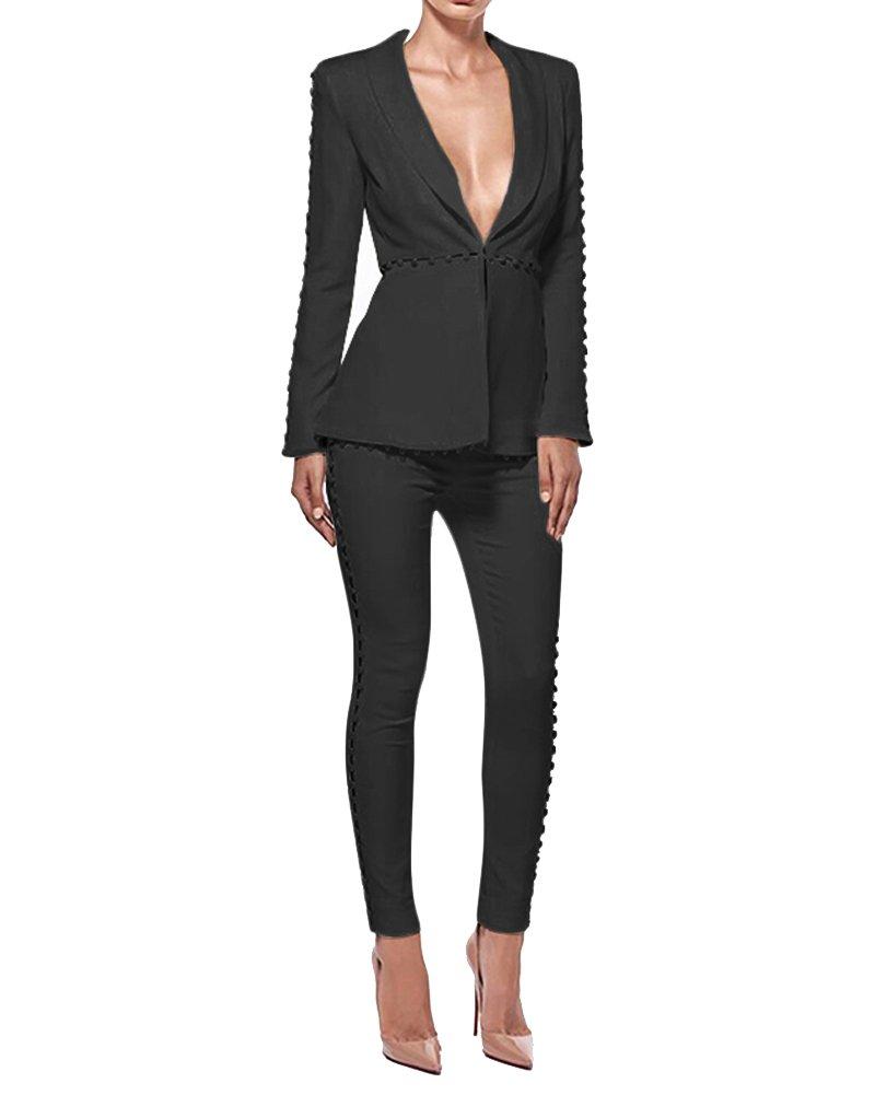 UONBOX Women's Cut Out 2 Pieces Slim Fit Blazer Jacket Pants Suit Set (L, Black2)
