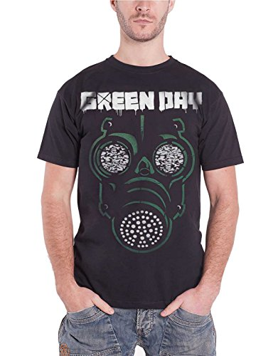 Green Day Gas Mask (Green Day Mens T Shirt Black Green Mask Gas Band Logo Official)