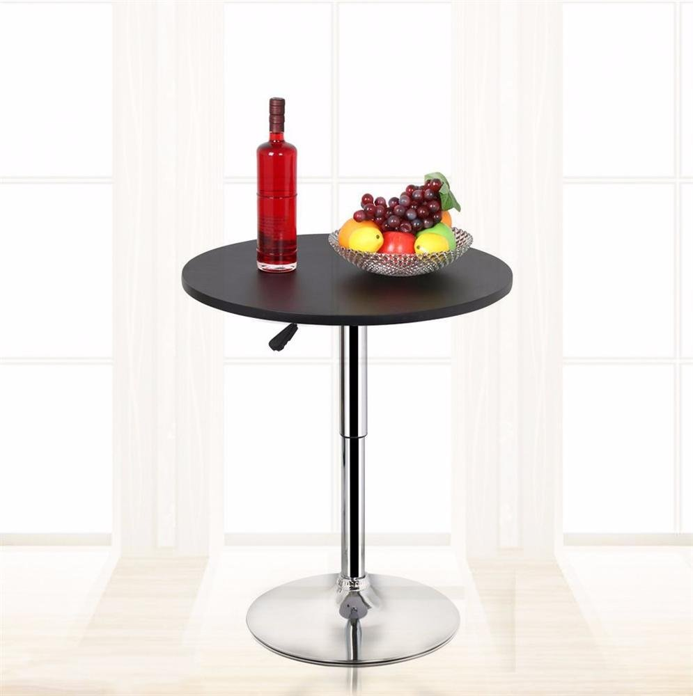 Amazon.com: Yaheetech Round Pub Bar Table Black MDF Top with Silver ...