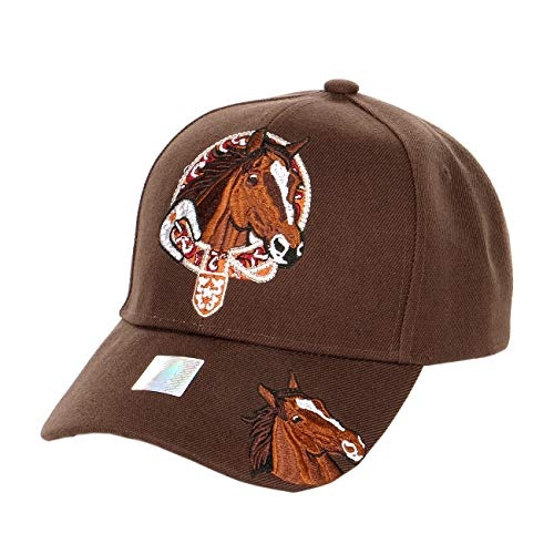 - Rodeo Horse Lover Baseball Cap, Curbed Bill, Adjustable Closure, Brown Horse