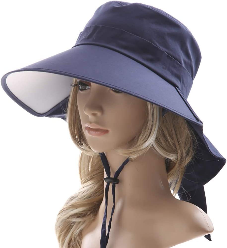 KFDQ la Novedad de Los Niños Sofá, Gorra Visera, Sombrero Grande Del Borde de Protección Uv Upf50 + Se Puede Emparejar con la Cola de Caballo 3 Colores,Azul Oscuro