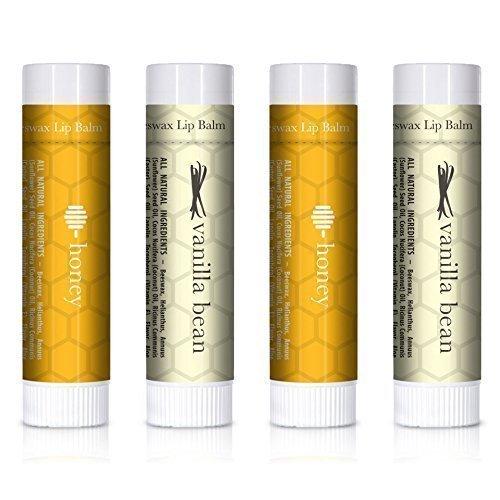 Lippenbalsam - Vanillebohne & Honig (4-er Packung) - Lippenbutter mit Aloe Vera und Vitamin E für weiche und intensiv gepflegte Lippen. 100% aus natürlichem und reinem Bienenwachs Lippenbalsam. Hergestellt in USA von Beauty by Earth