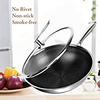 32cm Stainless Steel Frying Non-Stick Stir Fry Cooking Kitchen Wok Pan with Lid