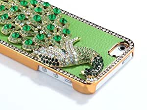Quaroth Pandamimi Deluxe Green Leather Green Diamond Rhinestone Bling Peacock Hard Case Cover for Apple iPhone 5 5G +...