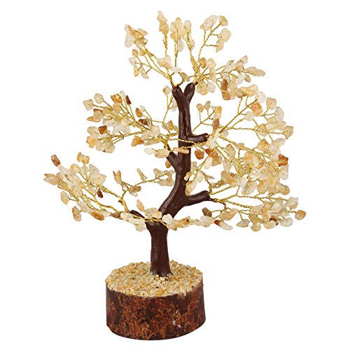 Crocon Citrine Gemstone Money Tree Feng Shui Bonsai for Reiki Healing Chakra Stone Balancing Energy Generator Spiritual Meditation Home Interior Office Decor Size 10-12 Inch