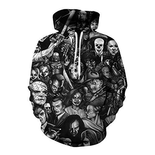 Unisex Hoodies 3D Digital Print Horror Movie Clown Sweatshirt Pullover Top Black