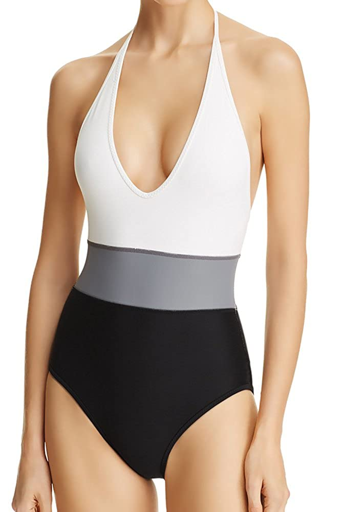 Vince Camuto One Piece colorblock Halter Plunge VNeck Maillot 12, Black White