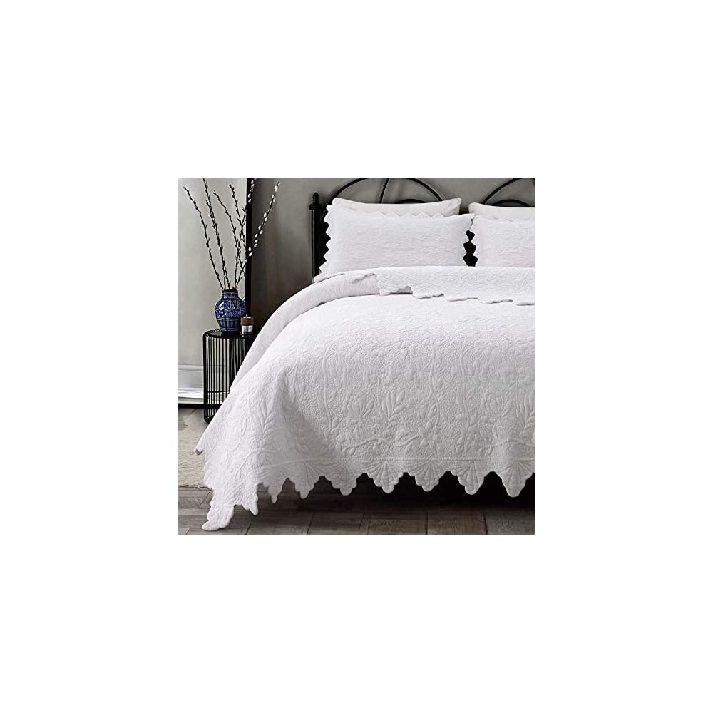 Brandream White Quilts Set Queen King Size Coverlet Set Farmhouse Bedding 100% Cotton Queen Size Quilted Bedspreads…