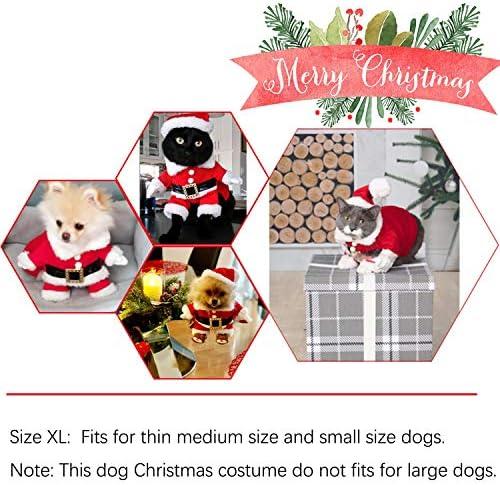 Disfraz de navidad para mascotas con gorro de papá Noel con capucha para Perro y gato 7