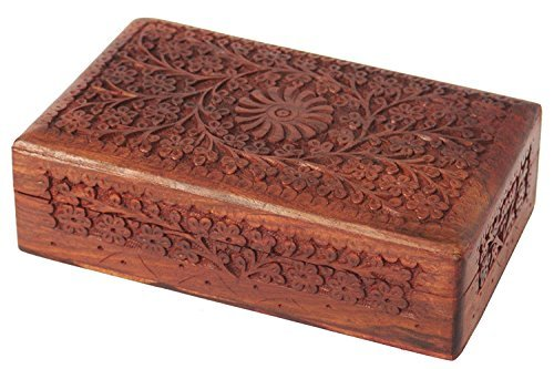 Carved Floral Box - Store Indya Exotic Hand Carved Wooden Keepsake Jewelry Trinket Box Storage Organizer with Floral Patterns & Velvet Interior