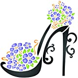 High Heel Shoe Stencil - 4.5 x 4.5 inch (S) - Reusable Decorative Flower Stiletto Platform Shoes Wall Stencil Template - Use on Paper Projects Scrapbook Journal Floors Fabric Furniture Glass Wood etc.
