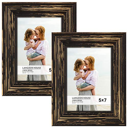 Langdons 5x7 Real Wood Picture Frames (2 Pack, Barnwood Brown - Gold Accents), Brown Wooden Photo Frame 5 x 7, Wall Mount or Table Top, Set Of 2 Lumina Collection