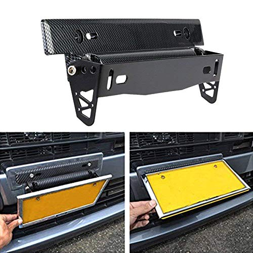 - KKmoon License Plate Frame Holder Universal Carbon Fiber Car License Plate Frame Holder Racing Style Angle Adjustable Relocate Bracket