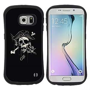 """Pulsar iFace Series Tpu silicona Carcasa Funda Case para Samsung Galaxy S6 EDGE / SM-G925(NOT FOR S6!!!) , Capitán Espada Cráneo Negro Pirata"""""""