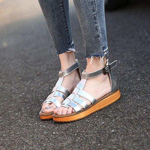 Damen Clogs Schuhe Leder Sandalen Silver gracosy Damen Sommer Wandersandalen Frauen Pantoletten Slipper Sandalen Vintage für Trekking qRvwE1