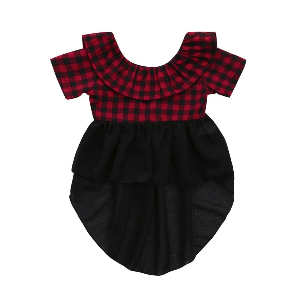 Dinlong Baby Girls Clothes Short Sleeve Plaid Soft Toddler Kids Tops T-Shirt Din_95