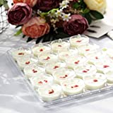 Efavormart 40 Pack 2 oz Clear Disposable Round Dessert Cups with Lids Serving Tray Mini Pot for Wedding Party Events(2 Trays)