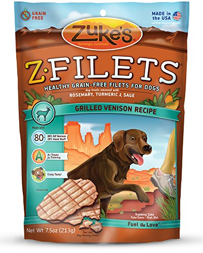 Zuke s Z-Filets Dog Treats, Savory Venison Recipe,…