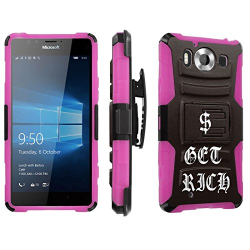 Photo - [SkinGuardz] Case for Microsoft Lumia 950 [Heavy Duty Ultra Armor Tough Case with Holster] - [Get Rich]