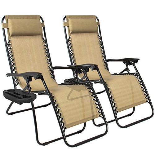 (Best ChoiceProducts Zero Gravity Chairs Tan Lounge Patio Chairs Outdoor Yard Beach New (Set of)