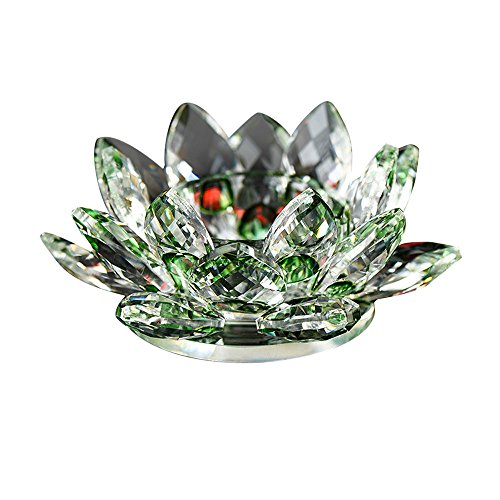 SamMoSon Candles Holders, 7 Colors Crystal Glass Lotus Flower Candle Tea Light Holder Buddhist Candlestick Green ()