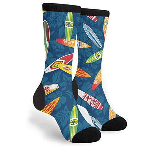 Packsjap Surfboard Hibiscus Men & Women Casual Cool Cute Crazy Funny Athletic Sport Colorful Fancy Novelty Graphic Crew Tube Socks