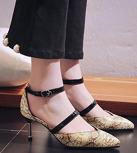 Idifu Kvinners Trendy Ankel Strap Stiletto Mid Hæl Spisse Tå Snake Print Pumper For Fest Gull