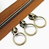 #6: YaHoGa #5 Antique Brass Metallic Nylon Coil Zippers by The Yard Bulk 10 Yards Brown Tape with 20pcs Anti-Brass Sliders for DIY Sewing Tailor Craft Bag (Anti-Brass Brown)