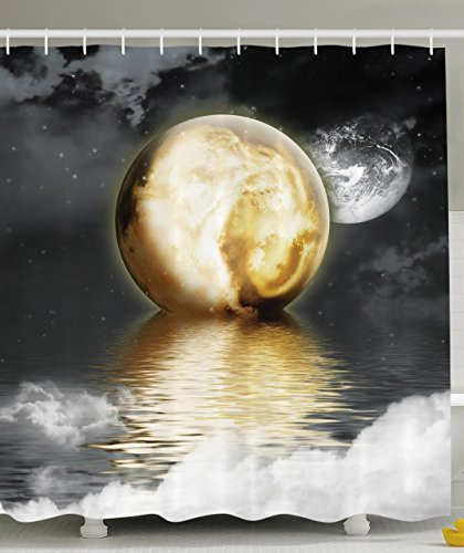 Moon Shower Curtain Moonshine Bathroom Decor by Ambesonne, Burning Moon over the...