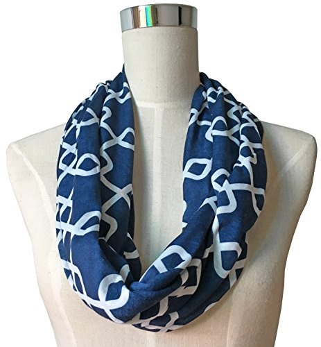 Womens Interlocking Chain Square Pattern Scarf w/ Zipper Pocket - Pop Fashion (Navy) (Scarf Pocket)