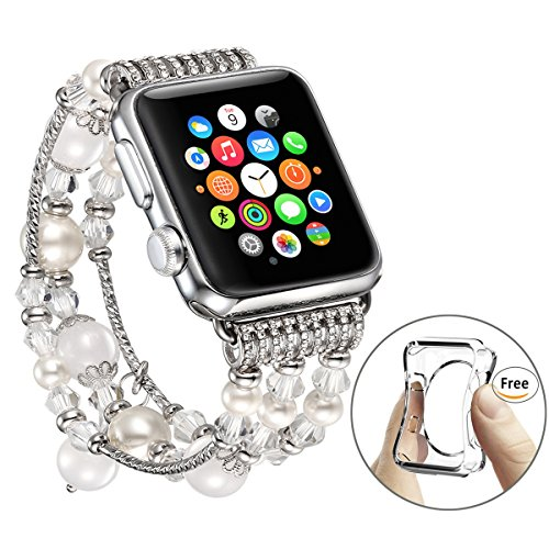 Fastgo Apple Watch Bracelet, Luxury White Beaded Natural Stone Band Replacement iWatch Strap Women (White - 38mm)