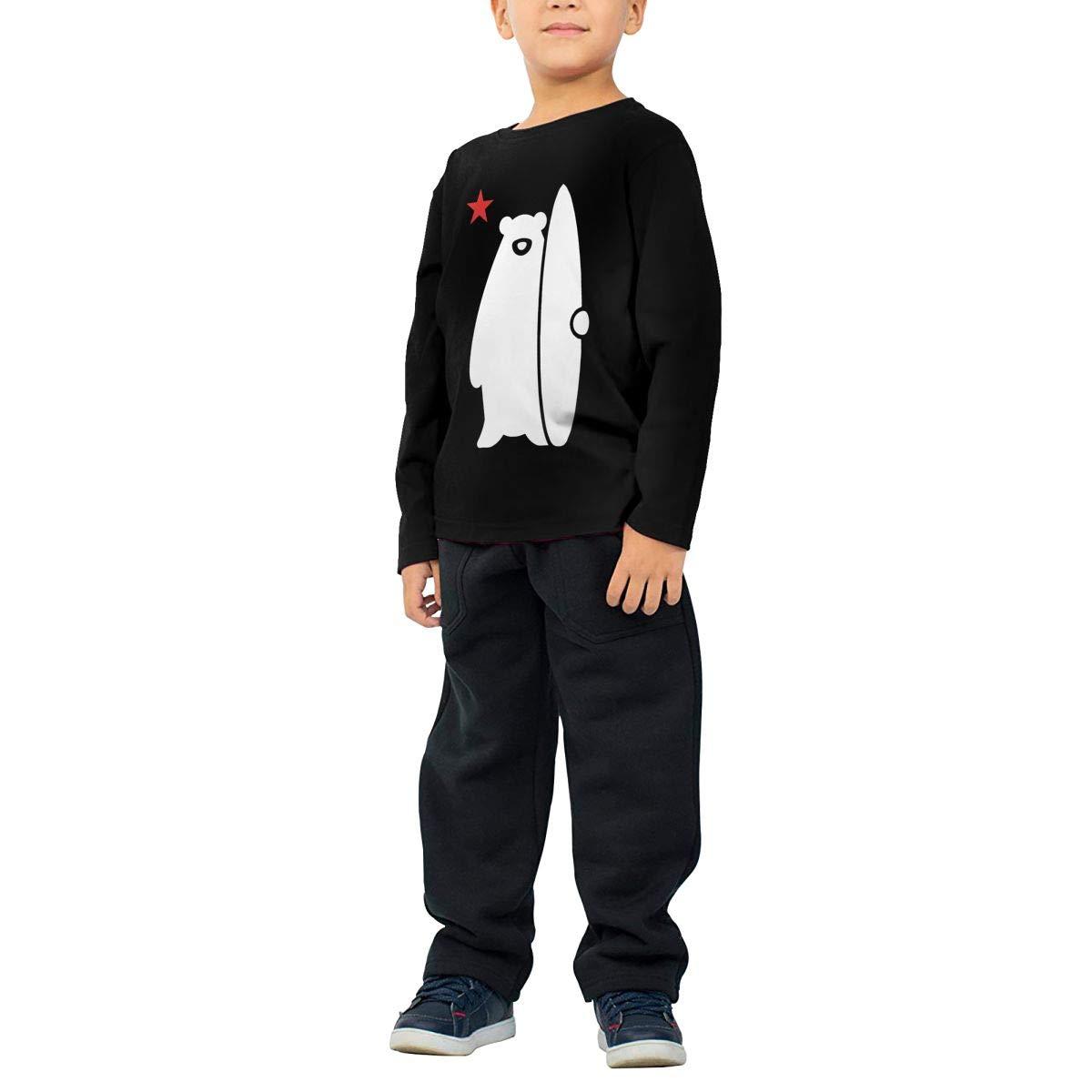 SKYAKLJA California Surf Bear Childrens Black Cotton Long Sleeve Round Neck T-Shirt for Boy Or Girl