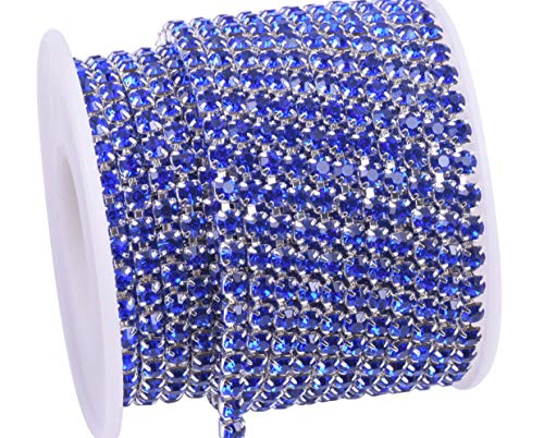 KAOYOO 10 Yards Rhinestone Beaded Chain Trim with Sapphire Beads SS16/4.0mm/0.16