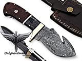 onlyhandmade Beautiful Damascus Knife Made Of Remarkable Damascus Steel exotic wood -Its A Hunting Knife With leather Sheath OHM-059 Review